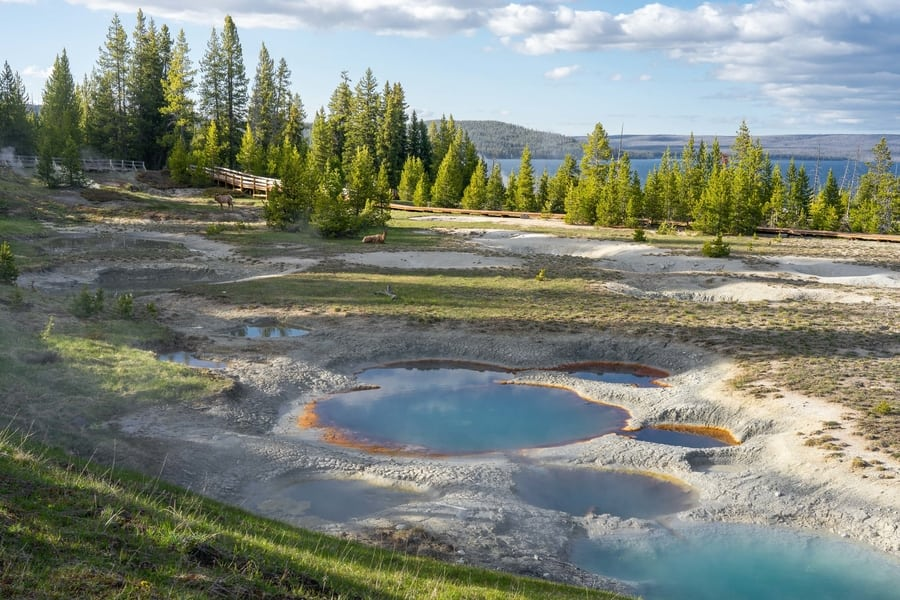 West Thumb Geyser Basin, what to see Yellowstone, Wyoming