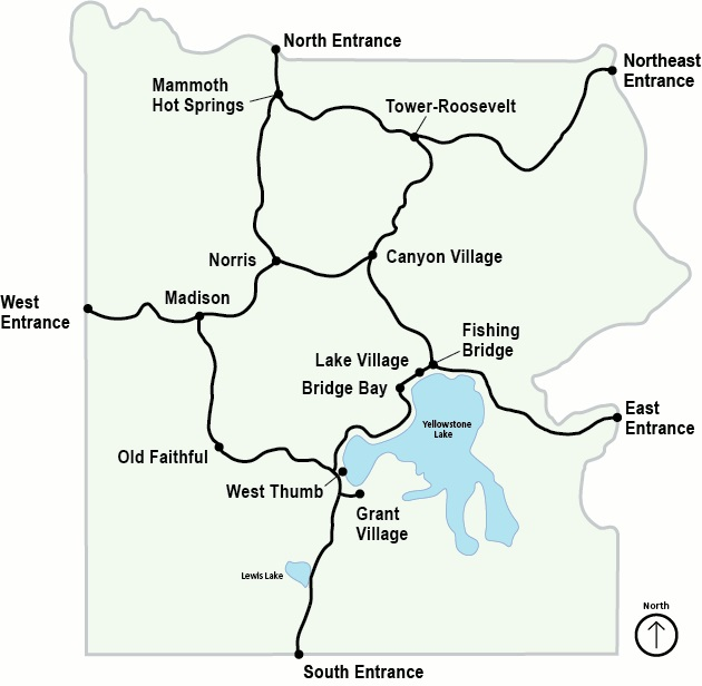 Map of Yellowstone National Park, Wyoming