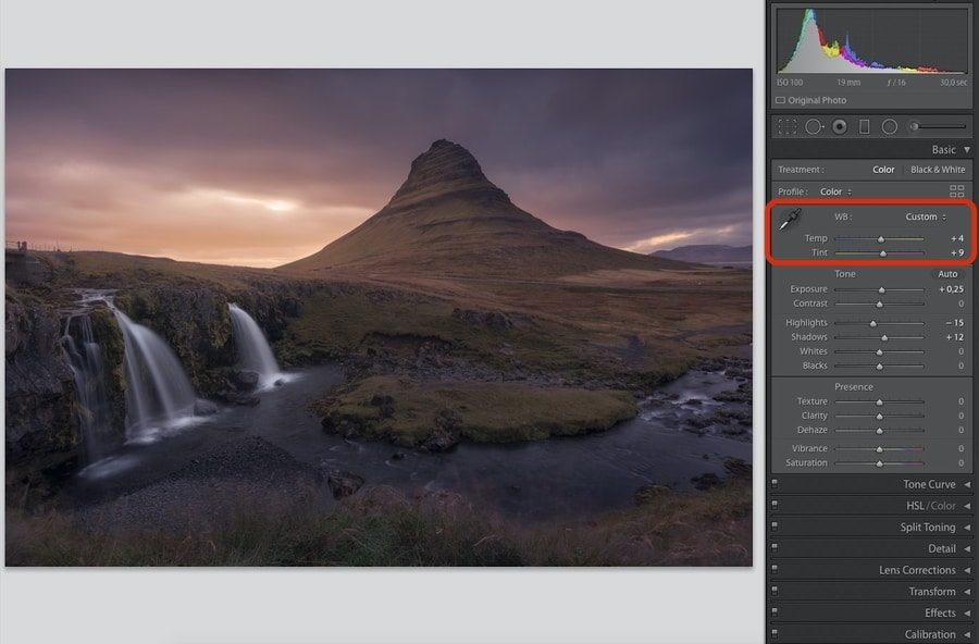 White Balance settings in Lightroom