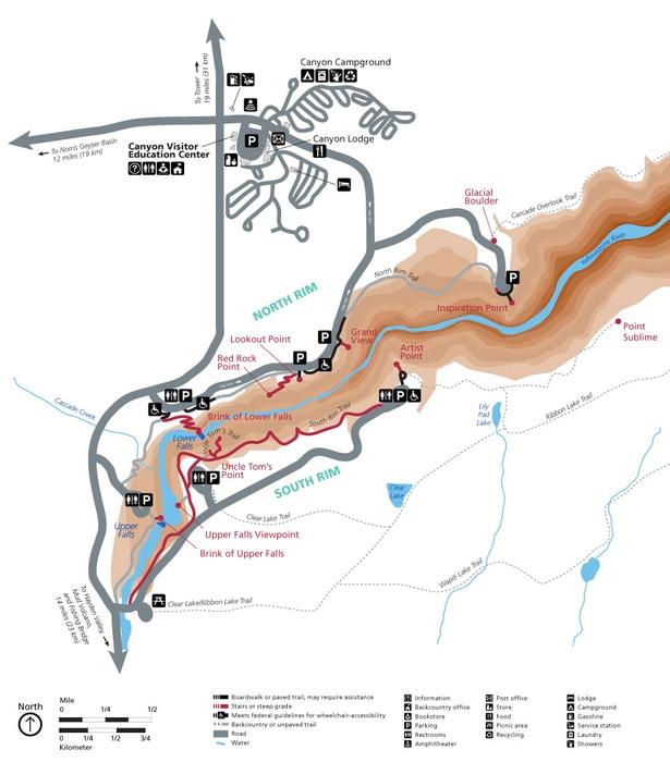 Grand Canyon map of Yellowstone