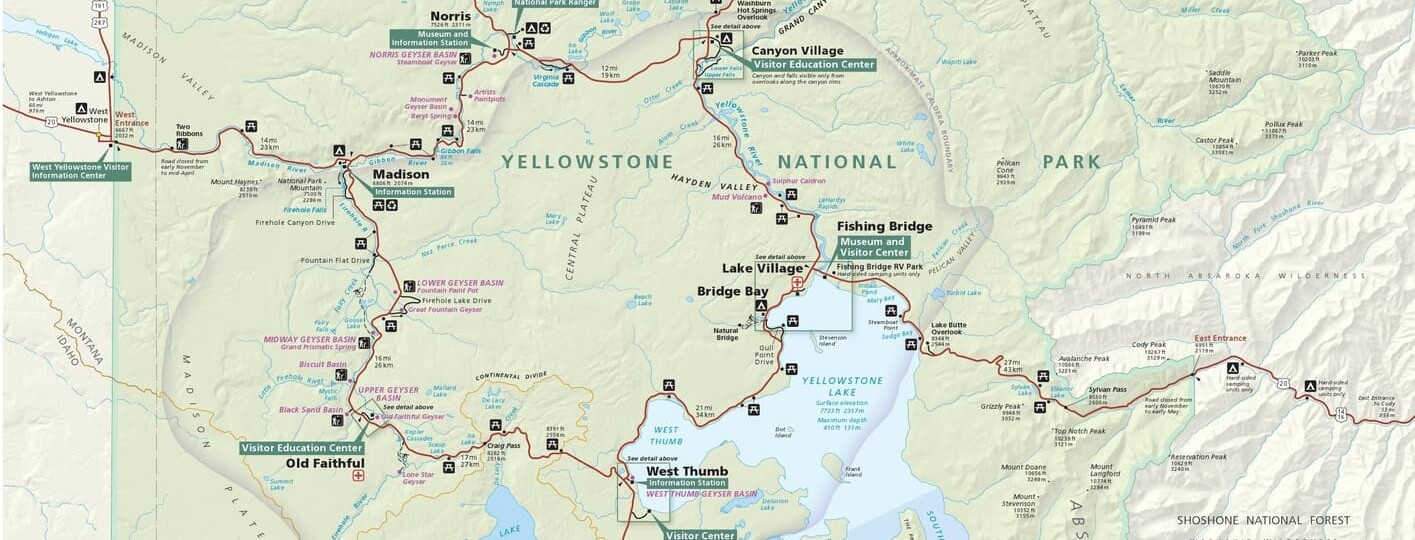 Map of Yellowstone, Wyoming, USA