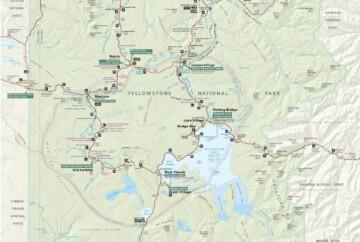 Mapa de Yellowstone, Wyoming, EE.UU.