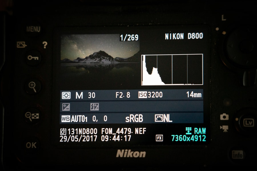 Histograma en fotografía de Vía Láctea