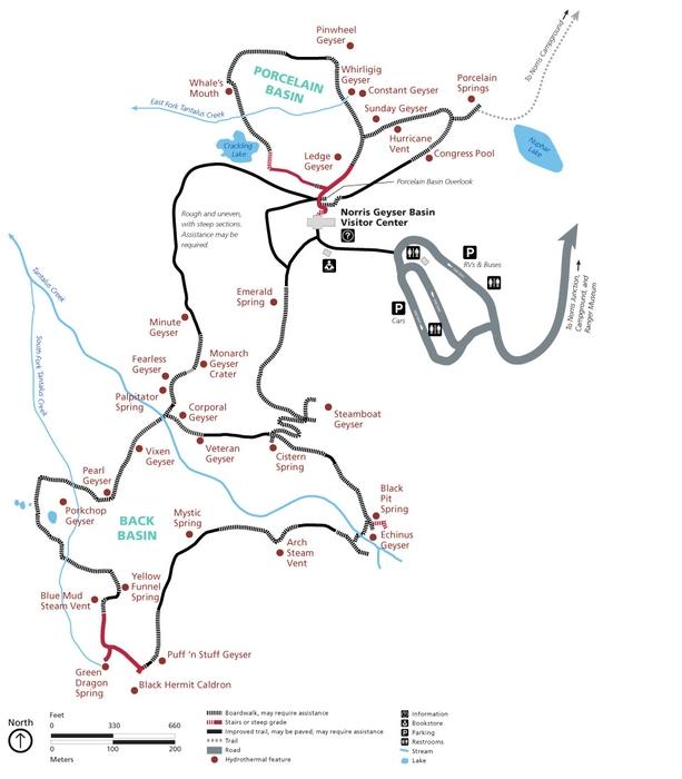 Norris Geyser Basin map, Yellowstone, USA
