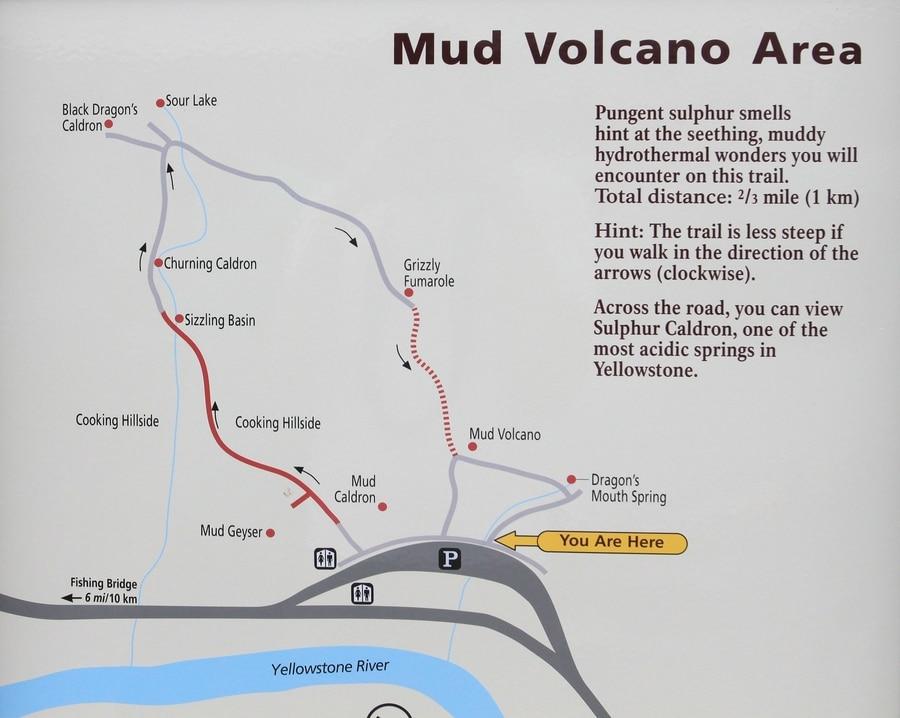 Mud Volcano map in Yellowstone