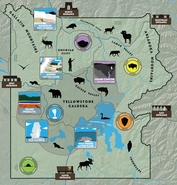 Map of the tourist attractions in Yellowstone