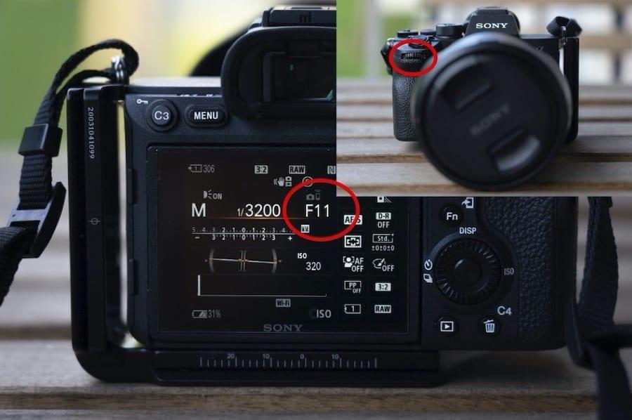 Aperture camera setting on camera