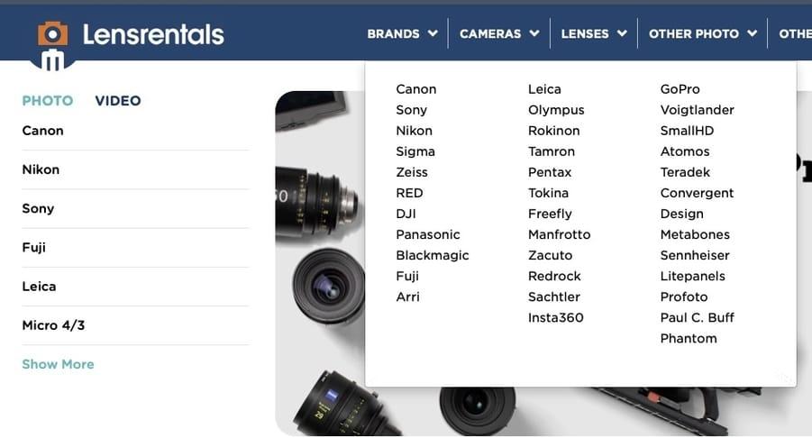 Lensrentals camera brands