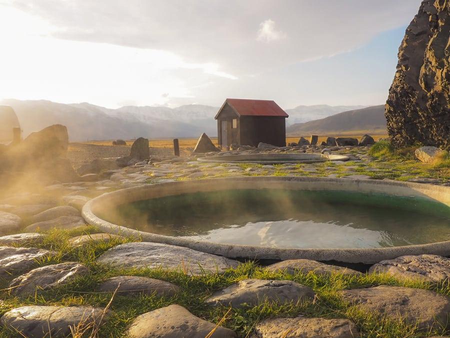 Hoffell, hot springs Iceland winter