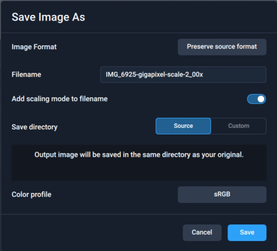 Upscaling images with Gigapixel AI