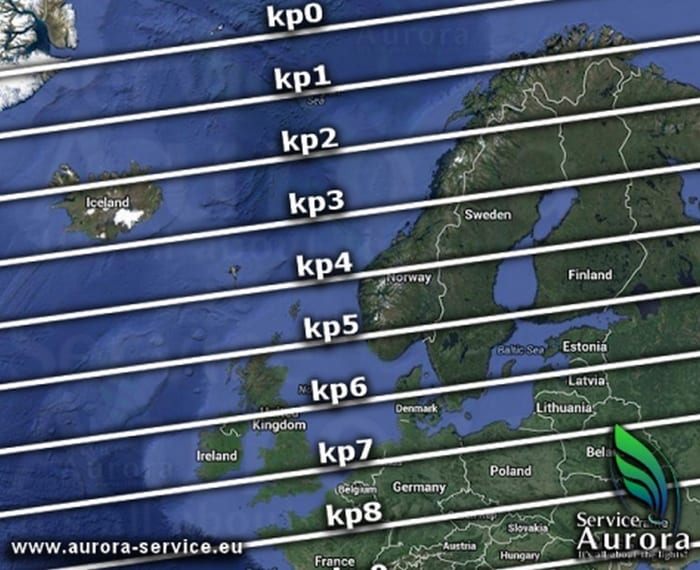 northern lights map in iceland