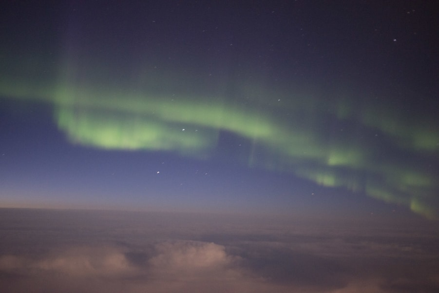 Aurora Borealis from plane window