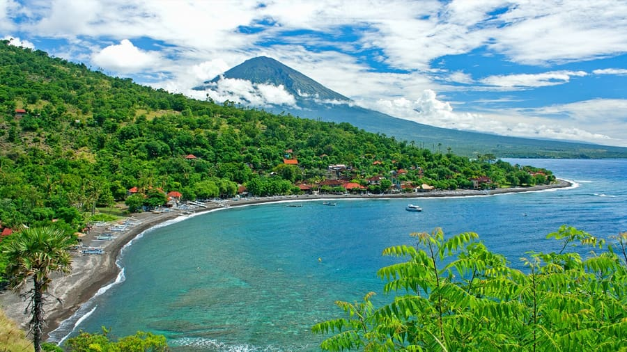 amed beach with mount agung at the background