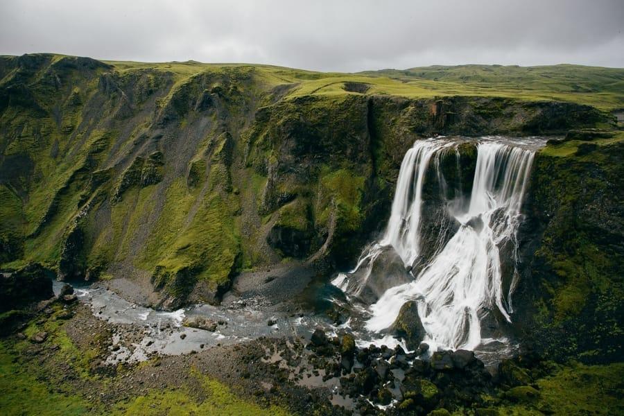 Fagrifoss, cascadas bonitas en las Tierras Altas de Islandia