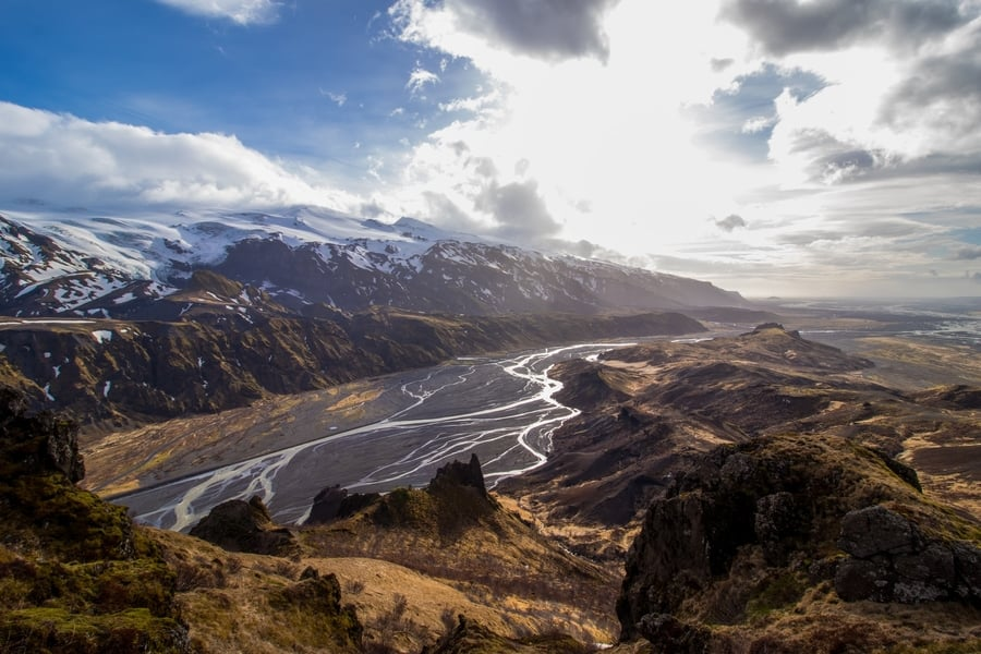 Thorsmork Highlights Loop, hikes in Iceland map