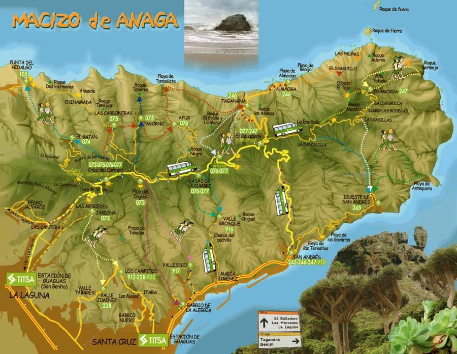 Map of Anaga, Tenerife, Anaga Rural Park