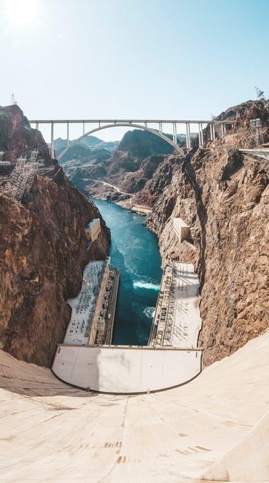 Hoover Dam Bridge, Hoover Dam from Las Vegas