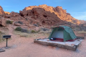 tent camping at a Valley of Fire Campground